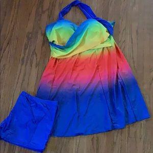 Rainbow swim dress brand new size XXL